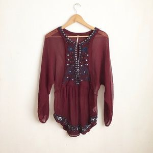 Free people sheer blouse Sz:Small summer light